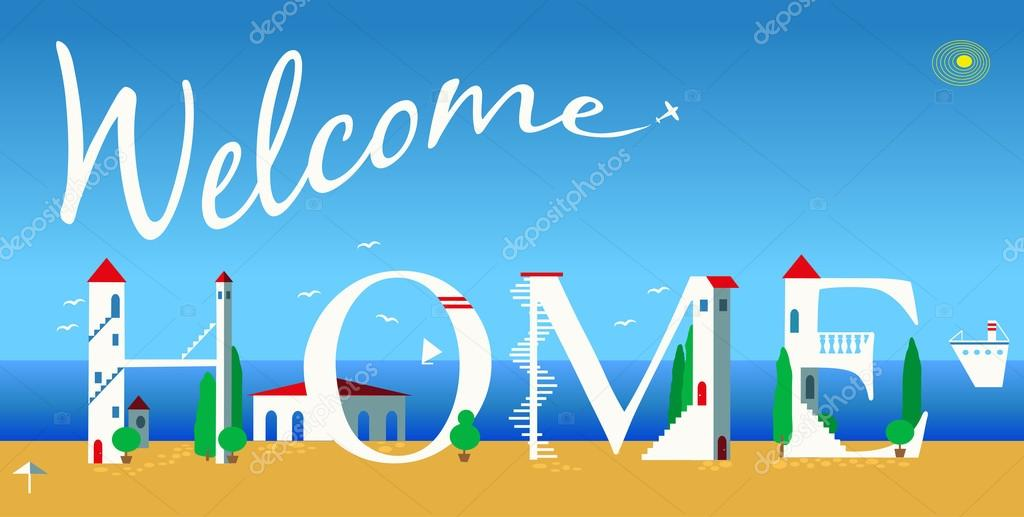 Inscription Welcome home. Vector Illustration