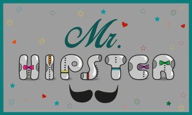 Inscription Mr. Hipster. Vintage letters