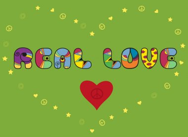 Inscription Real love. Colored Letters