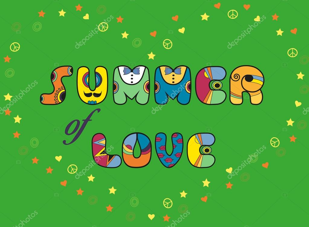 Inscription Summer of Love. Colored Letters