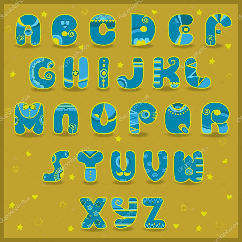 Fairy Alphabet. Funny blue and yellow letters