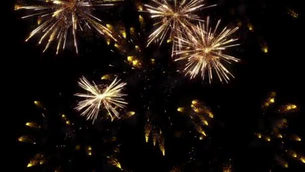 4K. Abstract blur of real golden shining fireworks with bokeh lights