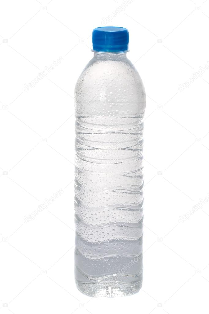 clear drinking water bottle on white background stock photo