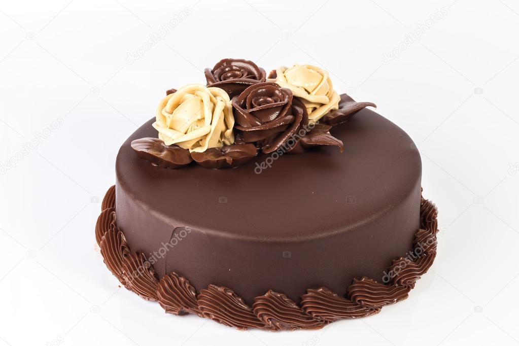 Gâteau Au Chocolat Avec Une Décoration Roses Crème Sur Le Dessus