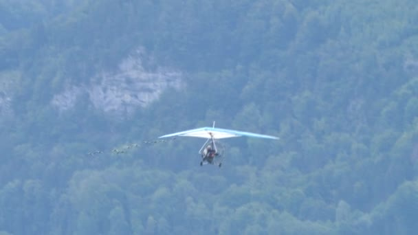 Moullec birdman powered hang glider in flight with a flock of rare birds