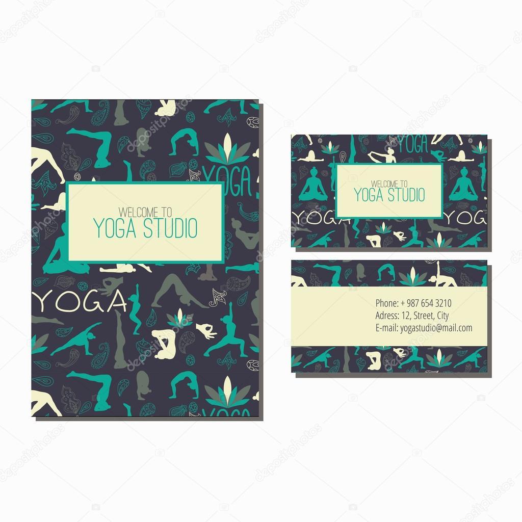 Ioga carto de visita e flyer vetor de stock marisemenova 63871717 business card and flyer for yoga studio pattern with yoga poses vetor por marisemenova reheart Image collections