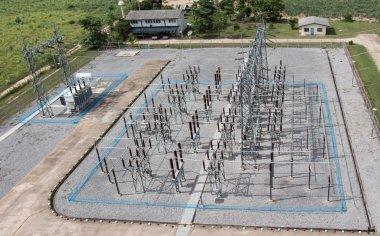Sub station 115 to 22 kV outdoor type bird eye view