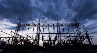 Sub station 115 to 22 kV outdoor type silhouette