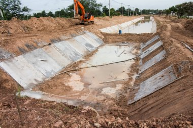 Concret water canal for urban drainage system and drain flood co