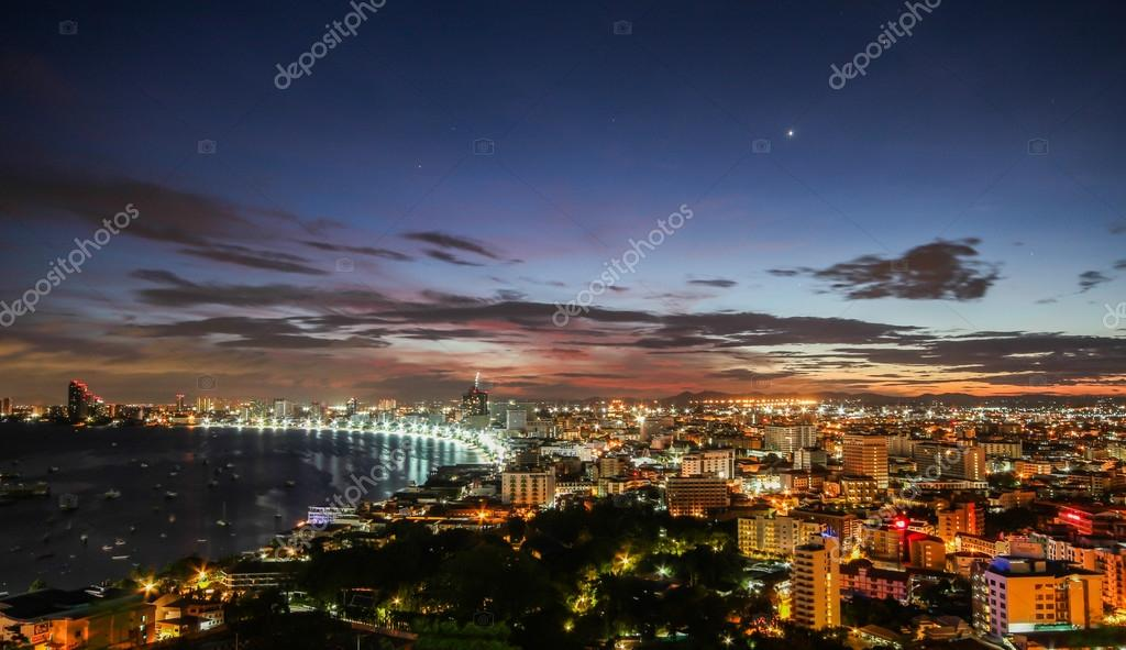 Pattaya city and sea at twilight time, Thailand