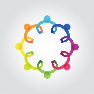 Vector of colorful school people,kids holding hands,business meeting,discuss,community