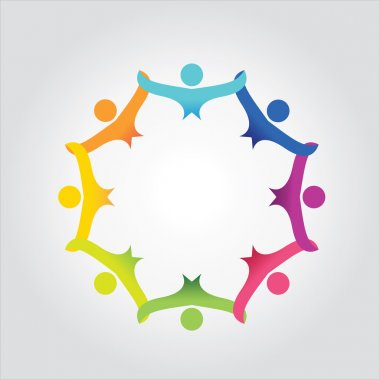 Colorful abstract people, children or kids together - vector icon. This graphic also represents love, unity, solidarity, alliance, union, teamwork, organization, together, group, team, clip art vector