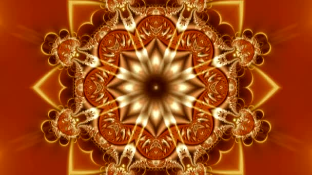 animation of a bright red mandala with a beautiful abstract ornament with highlights, flowers and stars in the center of the composition
