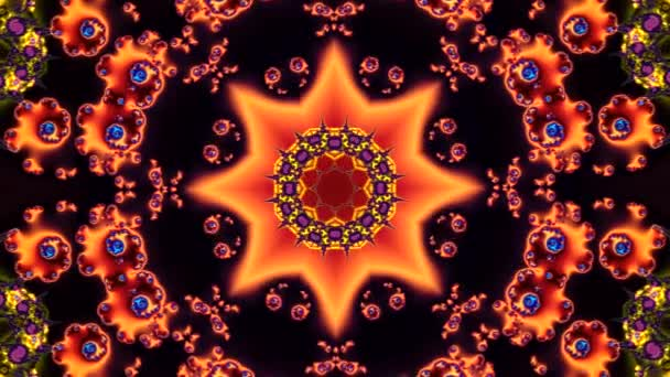 animation of a beautiful multicolored abstract background with a red star in the center