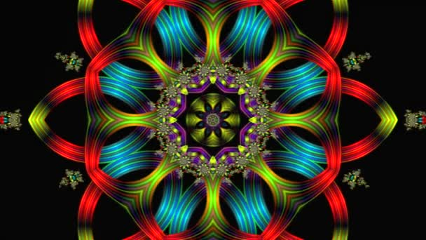animation of an abstract background consisting of multi-colored lines and various ornament in the form of stars and flowers in the center on a black background