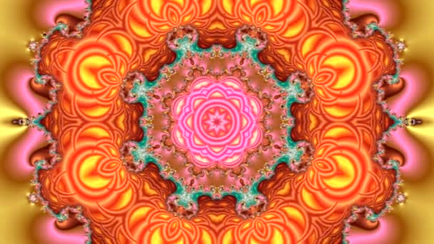 video animation of a beautiful multicolored fractal mandala with a bright circular abstract ornament in orange color and the appearance of a beautiful flower in the center on a yellow background