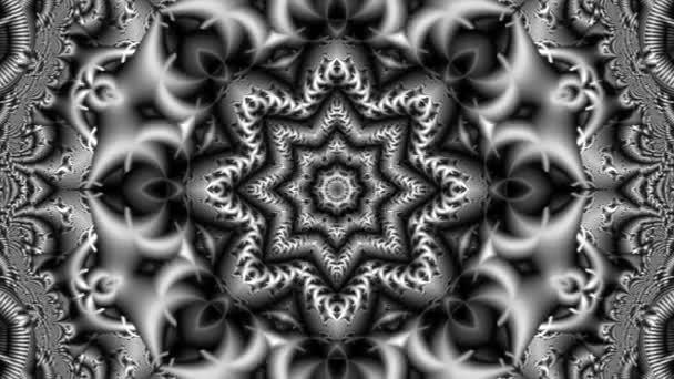 animace krásného abstraktního pozadí v futuristickém stylu s krásným fraktálním vzorem v černé a bílé se změnou tvarů v podobě květin a hvězd uprostřed kompozice