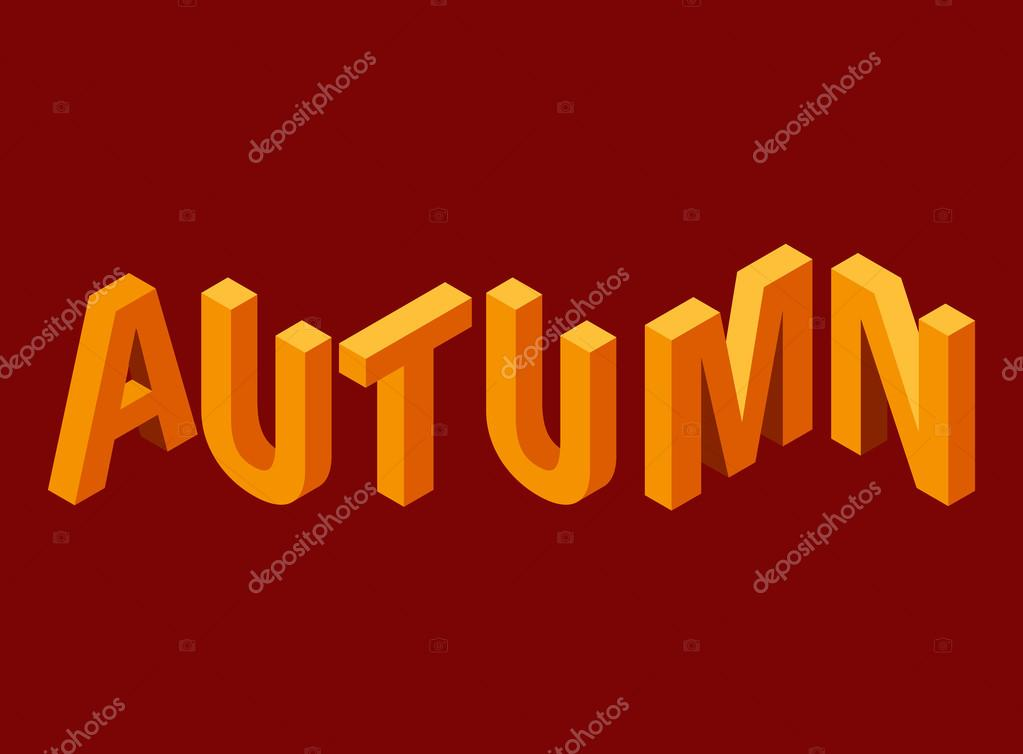 vector isometric letter autumn inscription 3d letters for banners