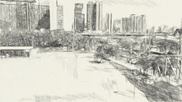 art drawing black and white of cityscape background