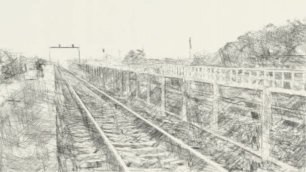 art drawing black and white of railway in country Thailand