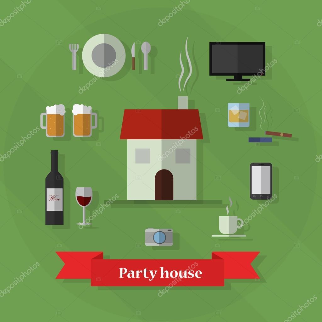 Party Haus Satz — Stockvektor © FranMarin #61545639