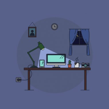 Work from home, night