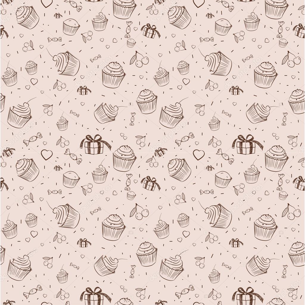 Vintage Background Cupcakes Stock Vector