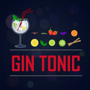 Gin tonics fruits and botanicals.