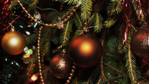 Christmas Decorations and Christmas Tree Garland Among the Branches. Shooting Passing