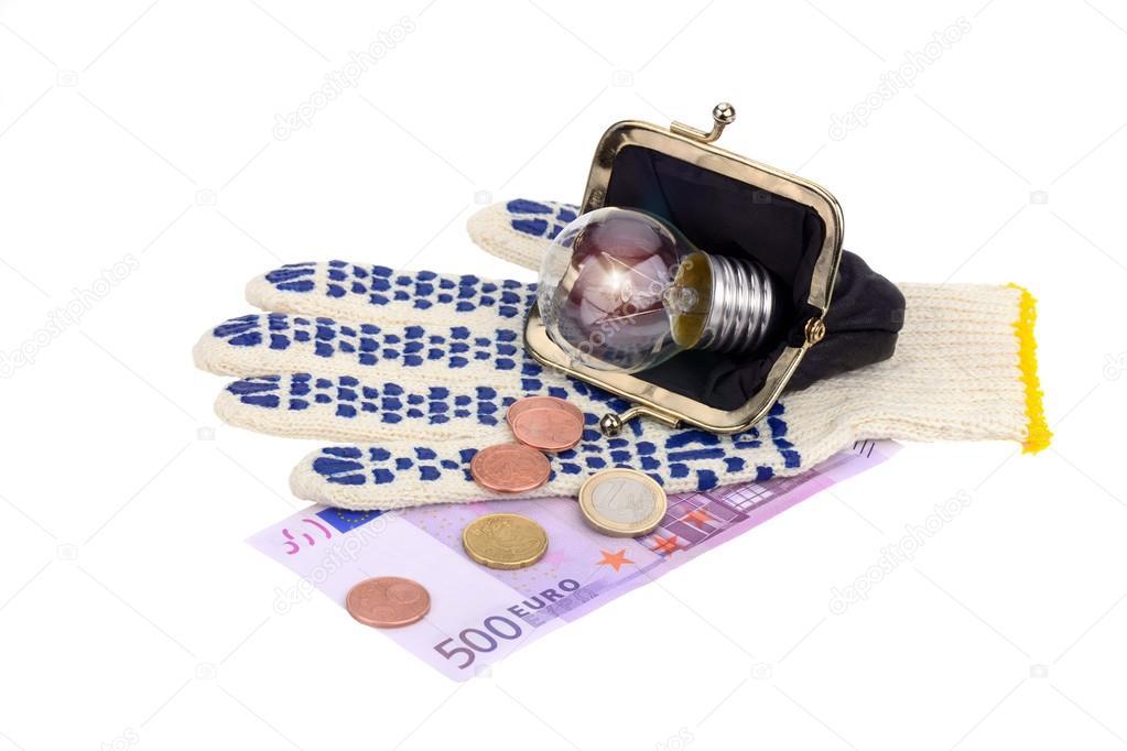 Licht In Der Brieftasche Und Fünfhundert Euro Münzen Auf Dem