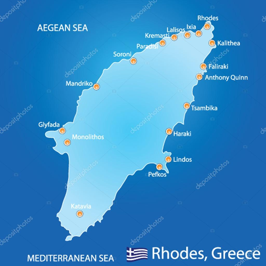 Island Of Rhodes In Greece Map Stock Vector C Milanpetrovic