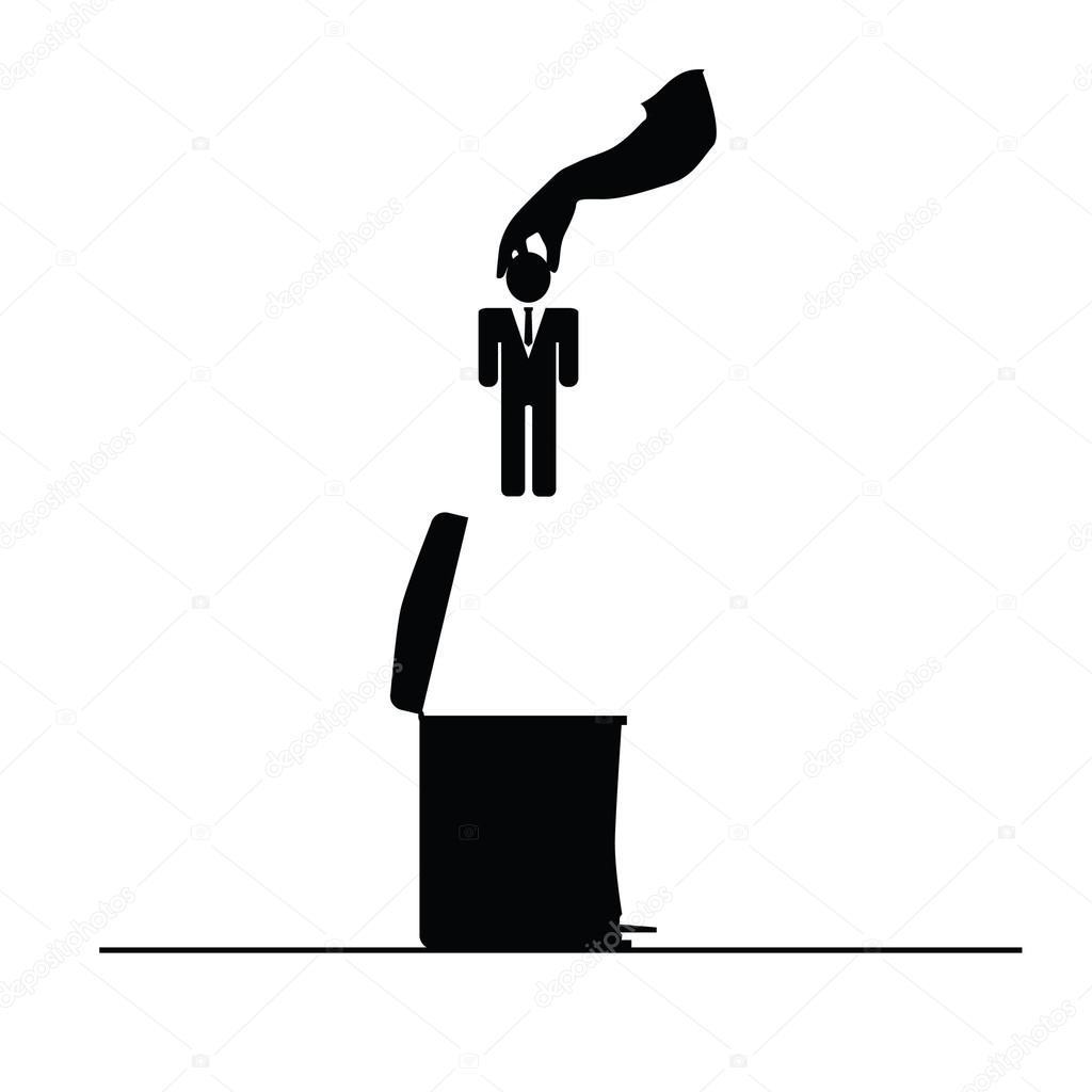 Businessman in trash can vector