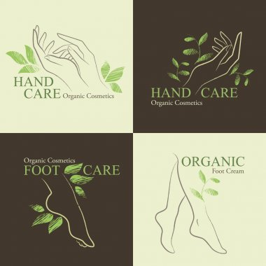 Organic Cosmetics Design elements with contoured womans feet