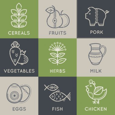 Food icons in linear ethnic style