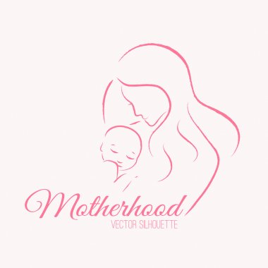 Elegant mother and baby silhouette in a linear sketch style