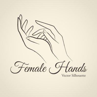 Elegant female hands silhouette