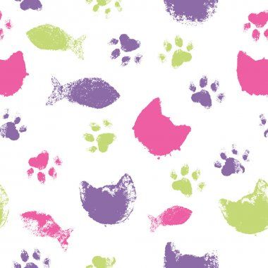 Vector seamless pattern with paw footprints, cat's muzzles and fish