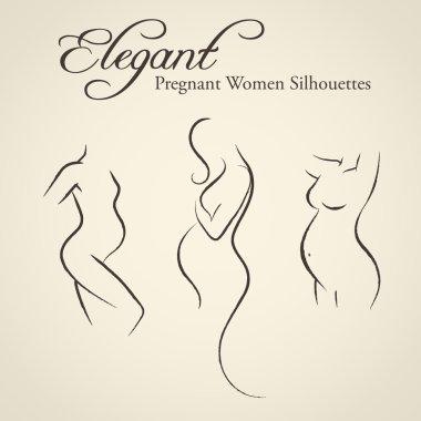Set of elegant pregnant woman silhouettes