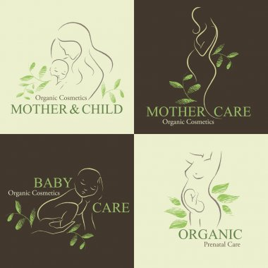 Organic Cosmetics Design elements with contoured pregnant women and newborn babies