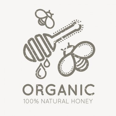 Beekeeping emblem with honey bee and honey ladle