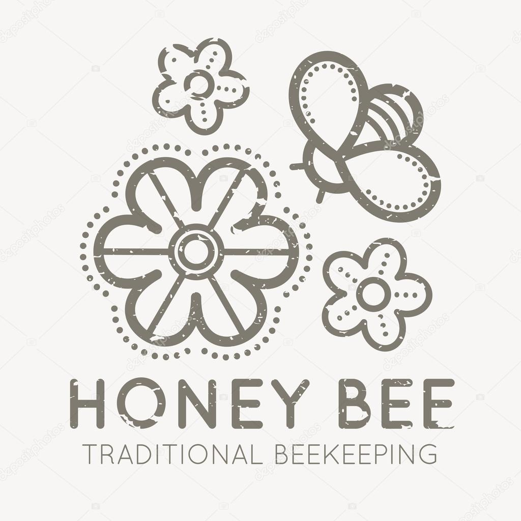 Beekeeping emblem with a honey flower