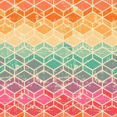 Vector tetragonal geometric seamless pattern with grunge texture