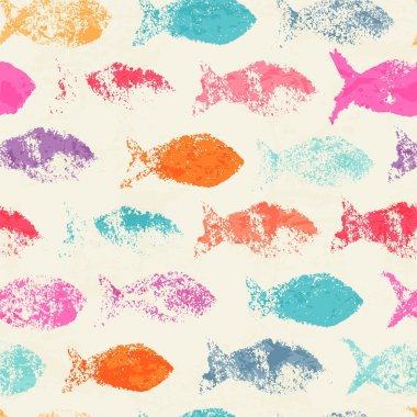 Abstract seamless pattern with bright colorful hand hand drawn fish