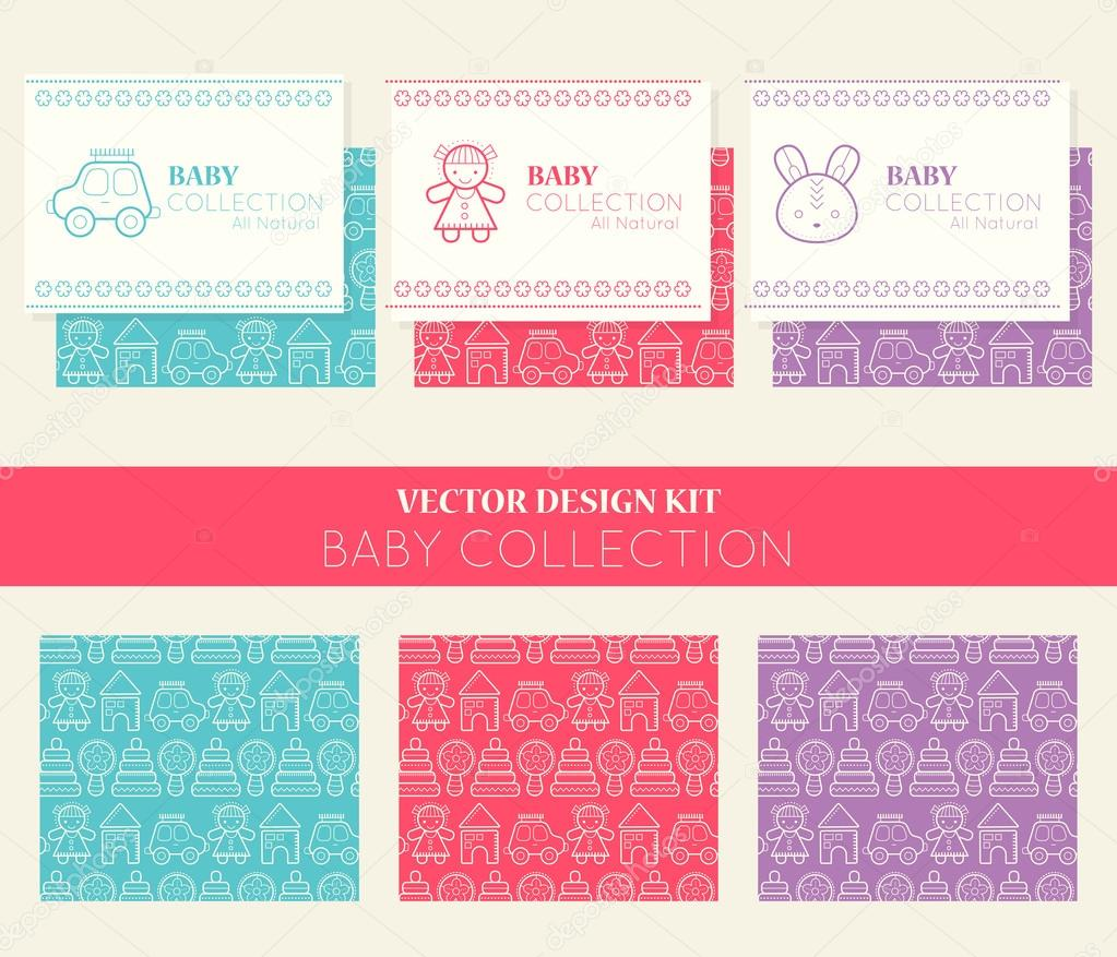 Vector design kit with business card templates and seamless patterns vector design kit with business card templates and seamless patterns baby collection vetores de reheart Gallery