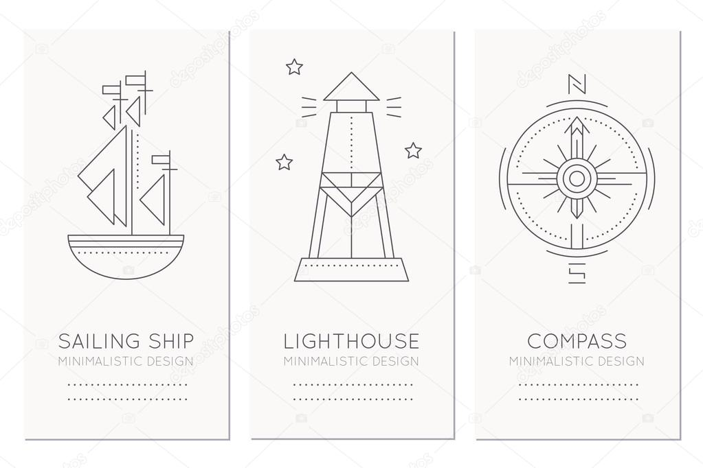 nautical card design template with thin line style illustrations of
