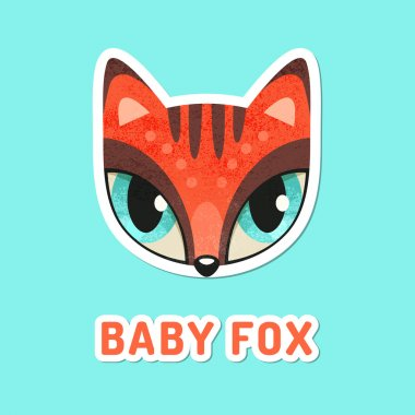 Red baby fox with extremely big eyes.