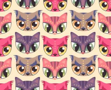 Seamless pattern with cute animal muzzles in flat style
