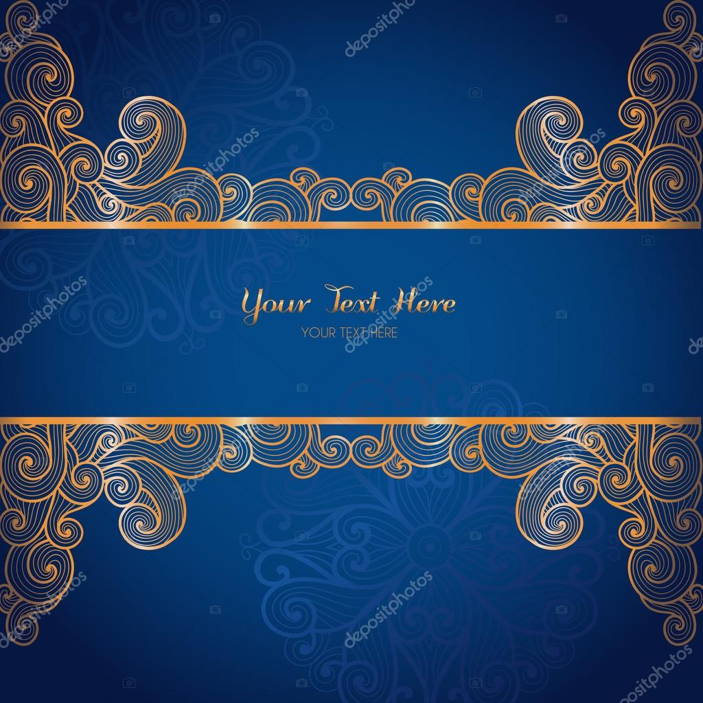 Elegant gold vector card template on dark blue background — Stock Vector © Lumitar #61183345