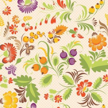 vector seamless pattern in Ukrainian folk style