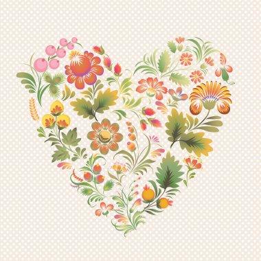 Vector love heart in Ukrainian folk style